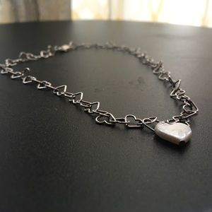 "Sterling Silver Heart Link Necklace ""Lots of Love"""
